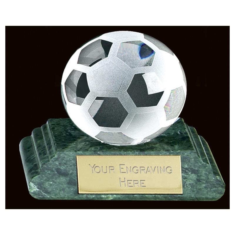 10 Inch Green Marble Football Sportsman Crystal Award