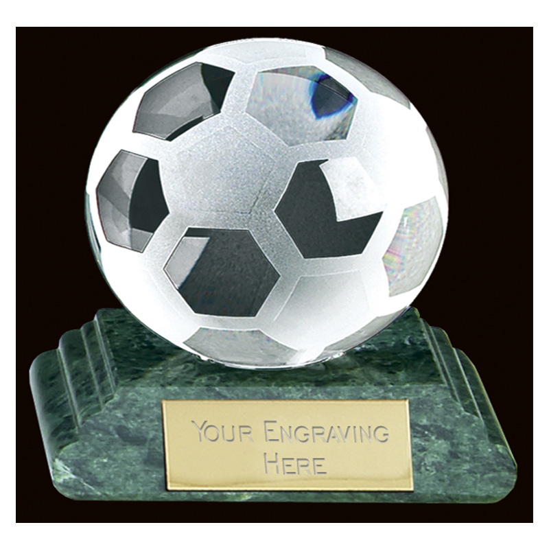 10 Inch Green Marble Football Sportsman Crystal Award