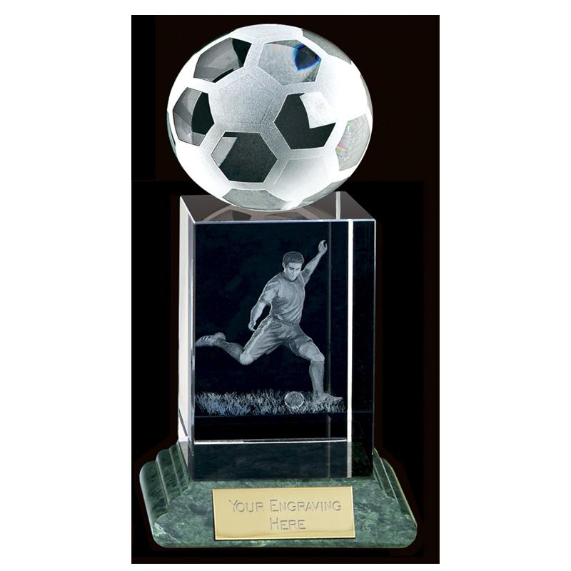 10 Inch Lasered Player & Ball Football Sportsman Crystal Award
