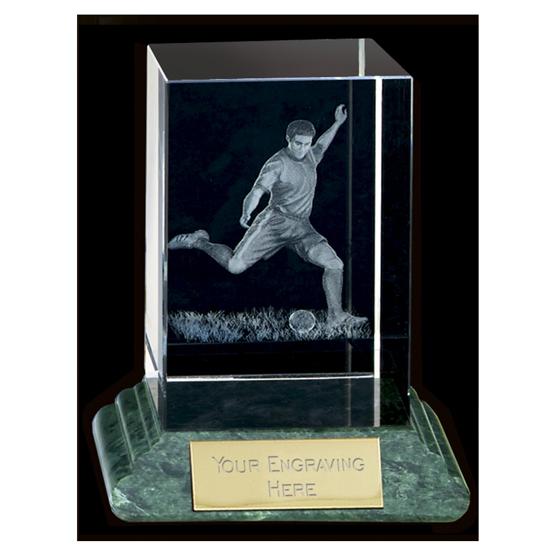 10 Inch Lasered Player & Ball Football Sportsman Crystal Award