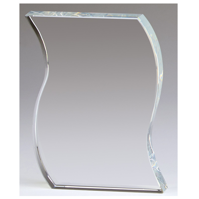 5 Inch Waved Edge Ripple Crystal Award