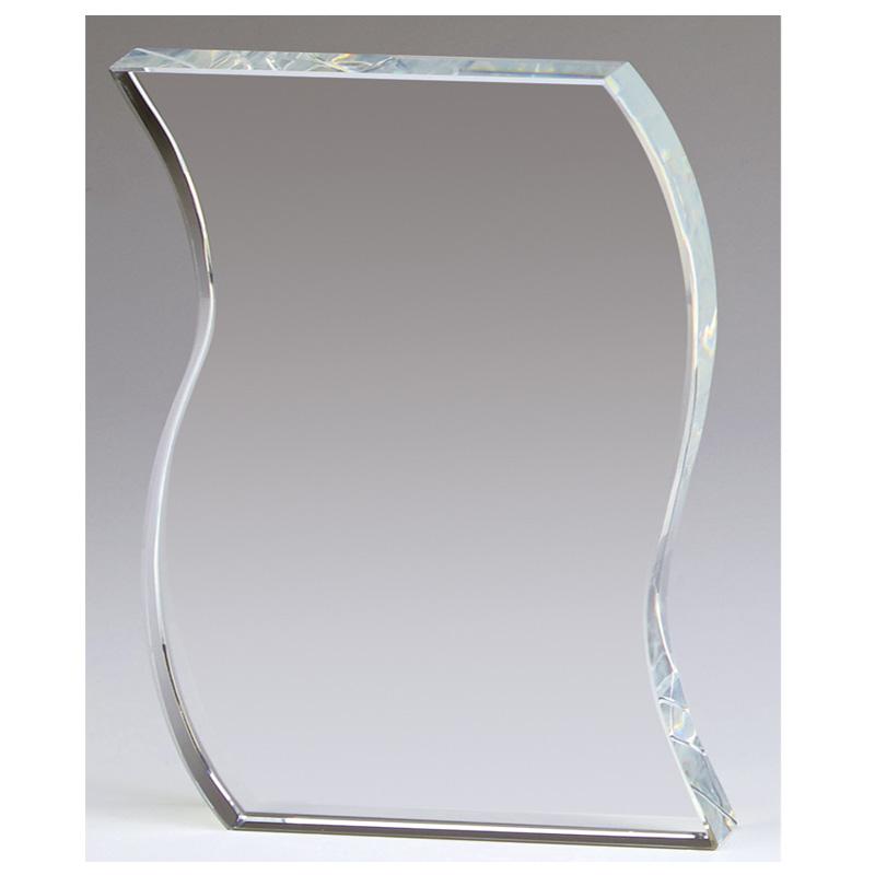 6 Inch Waved Edge Ripple Crystal Award