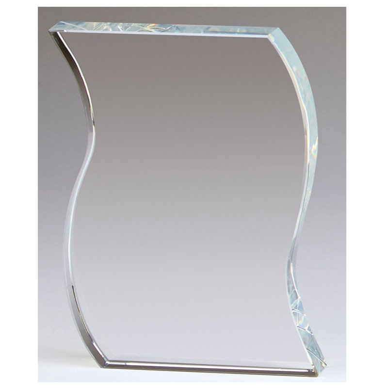7 Inch Waved Edge Ripple Crystal Award