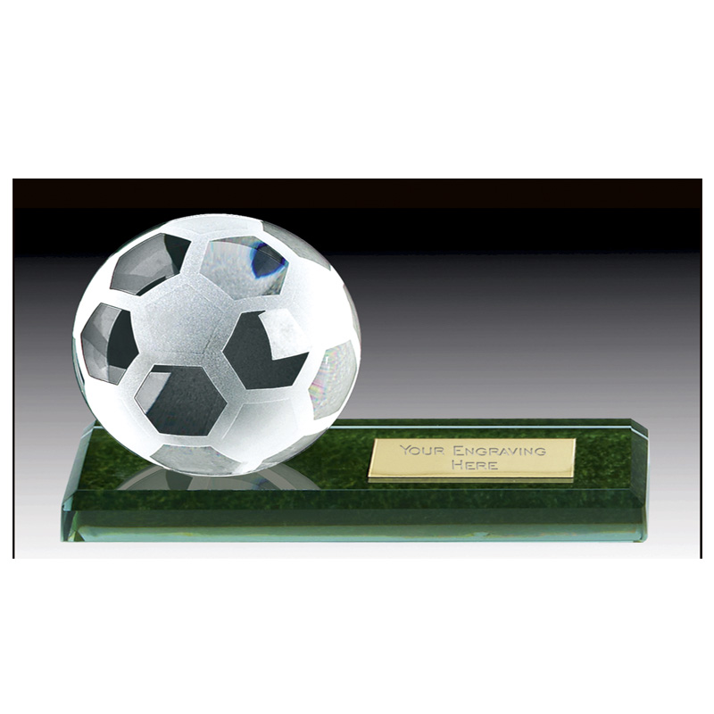 10 Inch Green Marble Football Pitch Crystal Award