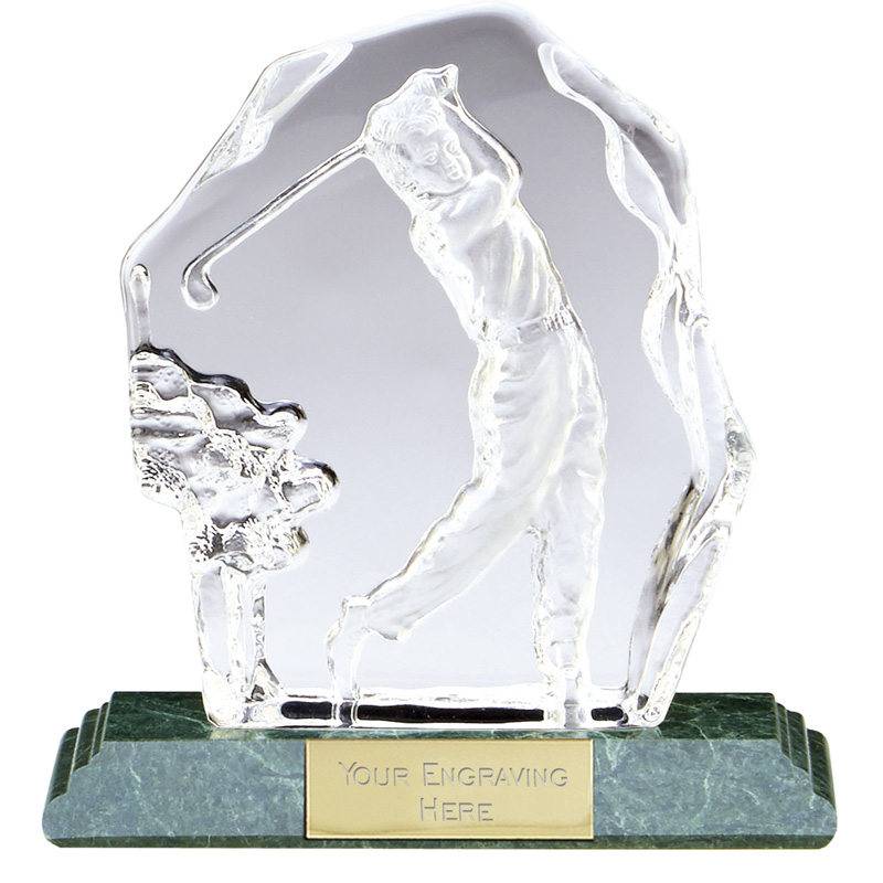 6 Inch Golfer Swing Iceberg Golf Sportsman Optical Crystal Award