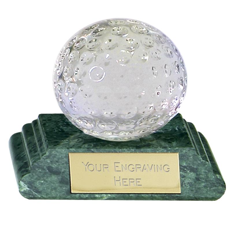 2 Inch Detailed Ball Golf Sportsman Optical Crystal Award