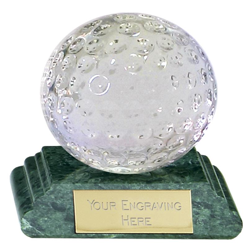 3 Inch Detailed Ball Golf Sportsman Optical Crystal Award