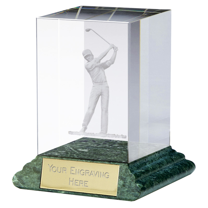 4 Inch Lasered Swing Golf Sportsman Optical Crystal Award