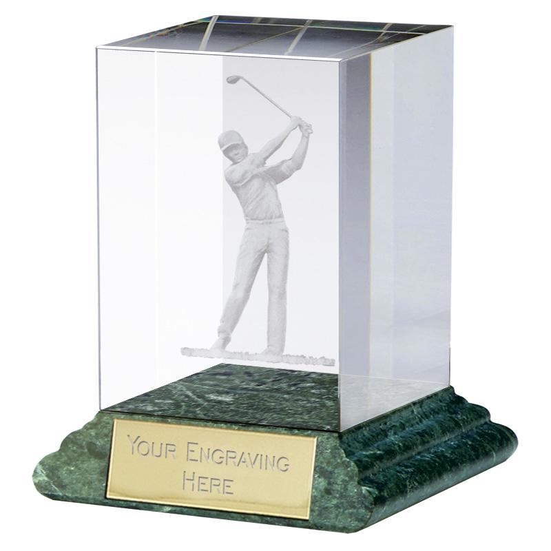 4 Inch Lasered Swing Golf Sportsman Optical Crystal Award