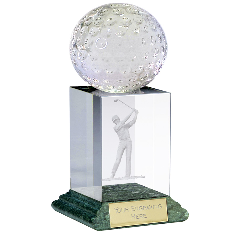 6 Inch Lasered Swing & Ball Topper Golf Sportsman Optical Crystal Award