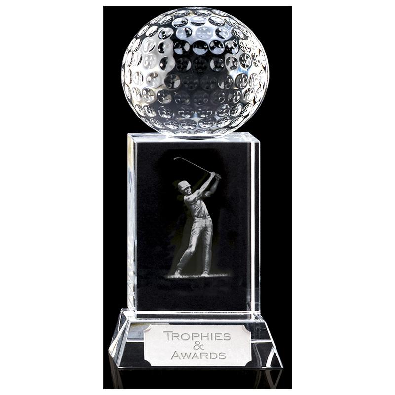 6 Inch Lasered Swing Inlay Golf Mercury Optical Crystal Award
