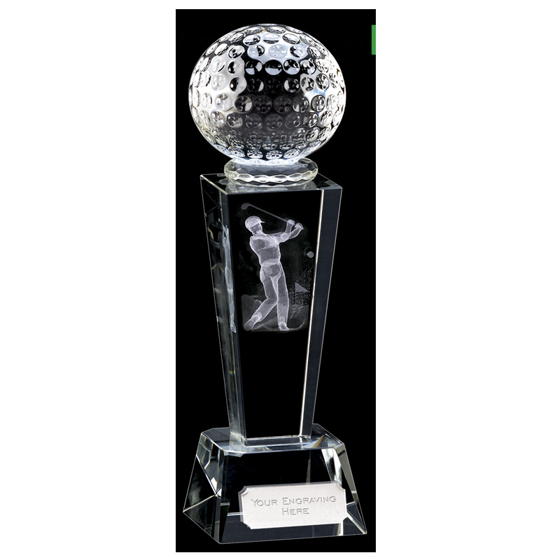 9 Inch Lasered Swing Inlay Golf Unite Optical Crystal Award