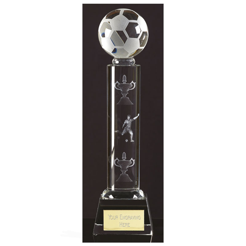 10 Inch Lasered Player & Trophies Football West Ridge Crystal Award