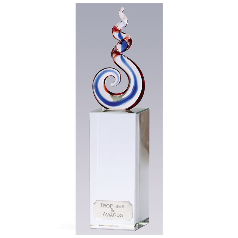 9 Inch Colourful Optical Swirl Rhythm Crystal Award