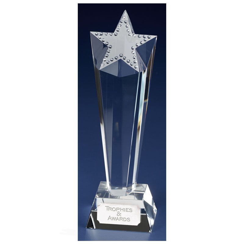 9 Inch Textured Star Solitaire Crystal Award