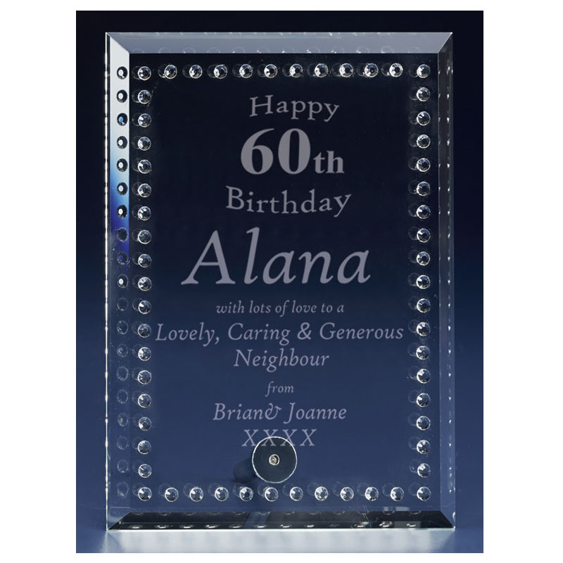 7 Inch Textured Plaque Solitaire Crystal Award