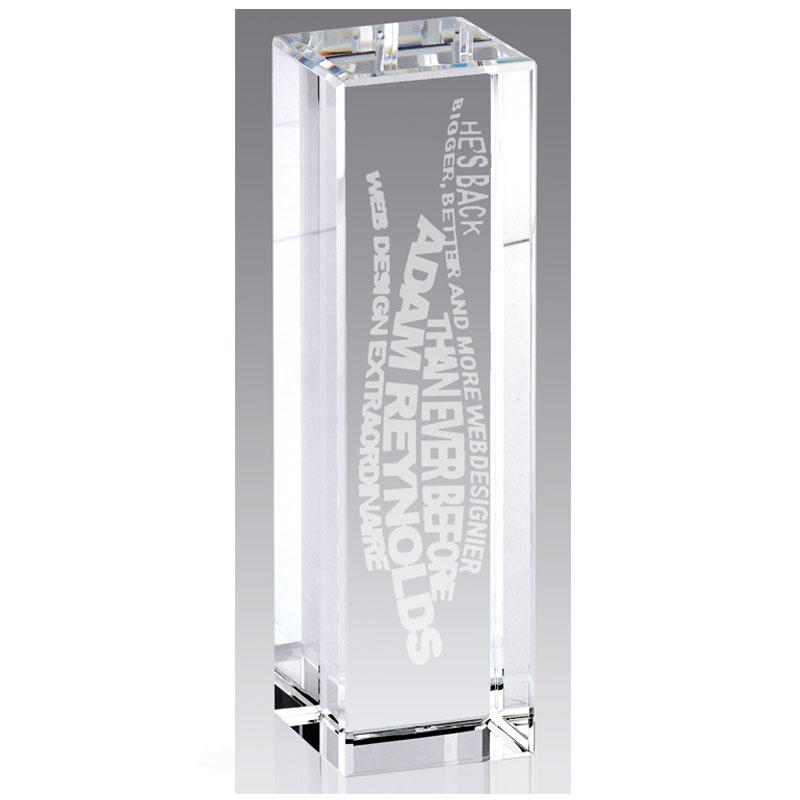 8 Inch Tall Rectangle New York Optical Crystal Award