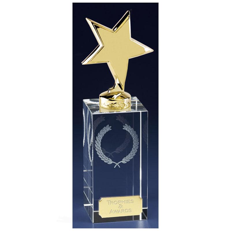 7 Inch Gold Star Block Clarity Crystal Award