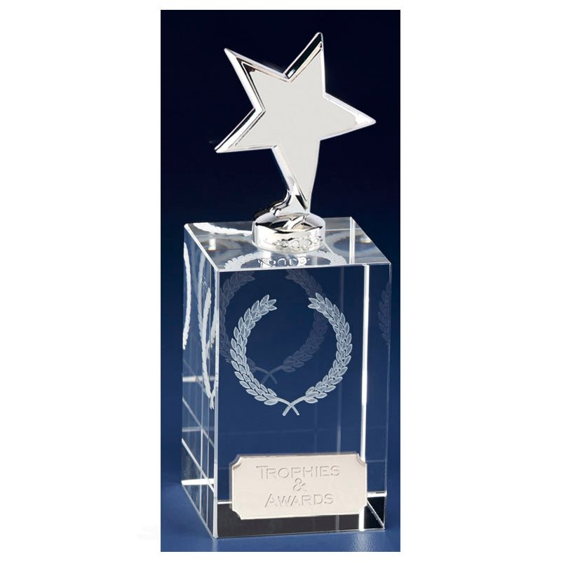 6 Inch Silver Star Block Clarity Crystal Award
