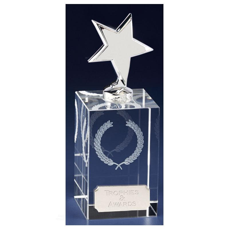 6 Inch Silver Star Block Clarity Crystal Award