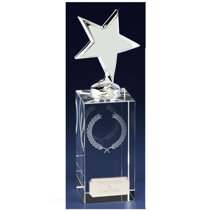 7 Inch Silver Star Block Clarity Crystal Award