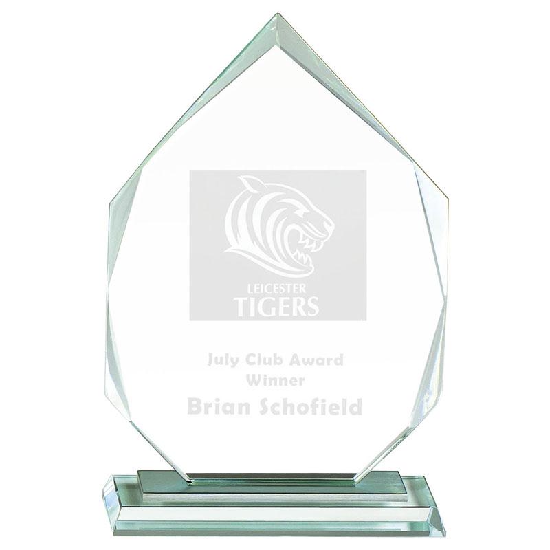 10 Inch Bevelled Edge Flame Oslo Optical Crystal Award