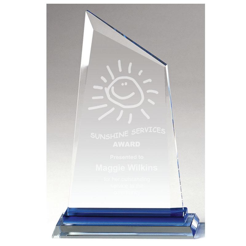 8 Inch Blue Base Grace Jade Glass Award