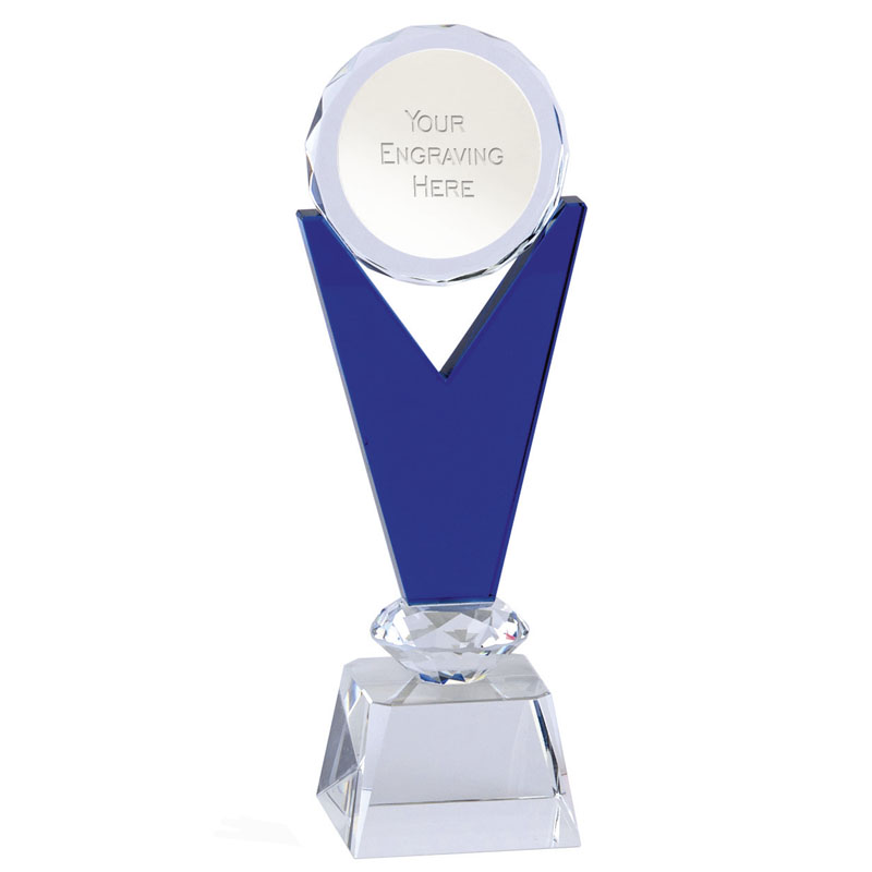 8 Inch Blue & Clear Podium Mayfair Crystal Award