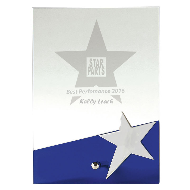 7 Inch Blue & Clear Star Plaque Motion Crystal Award