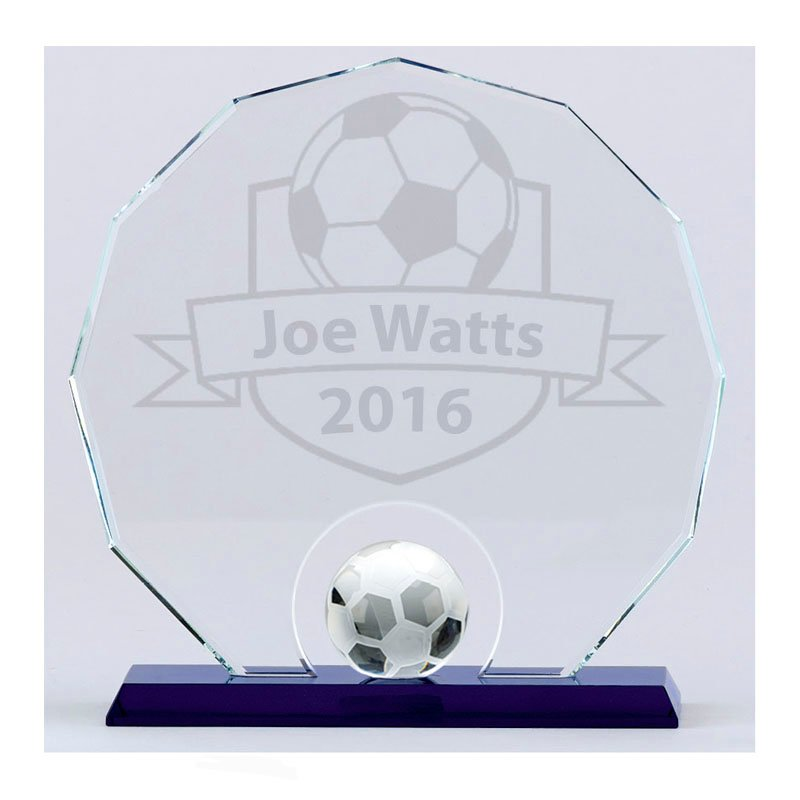 8 Inch Detailed Ball Football Stadium Crystal Award