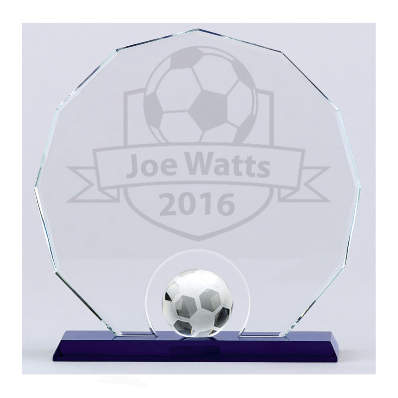 8 Inch Detailed Ball Football Stadium Crystal Award