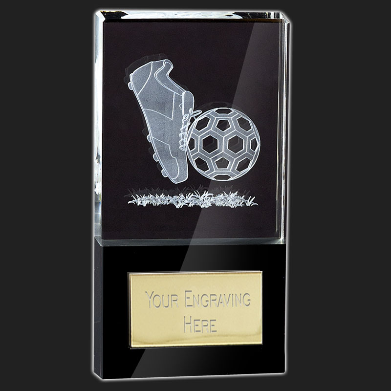 10 Inch Lasered Boot & Ball Football London Crystal Award