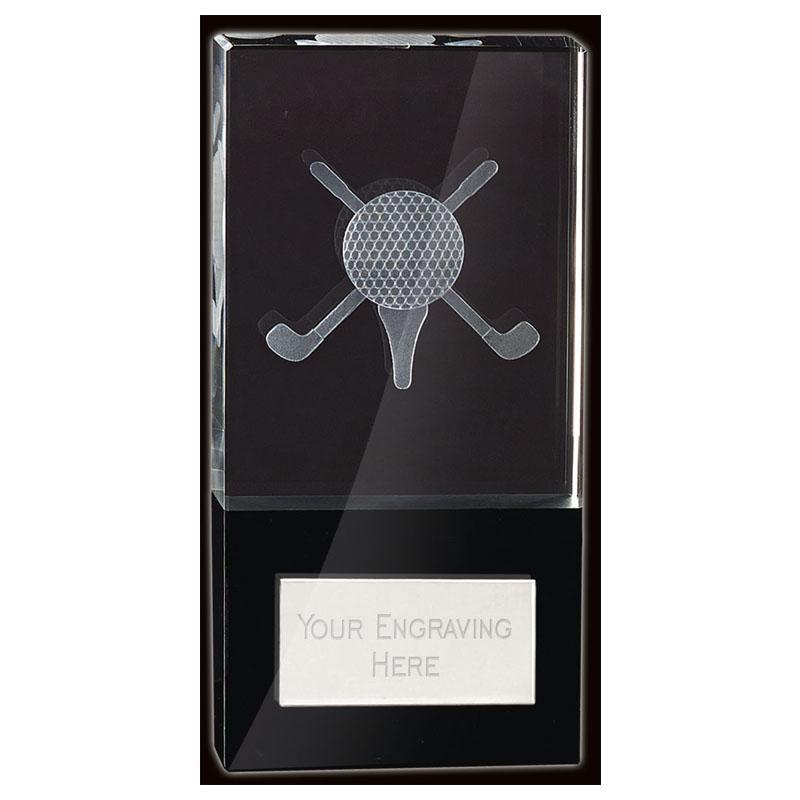 6 Inch Lasered Clubs & Ball Inlay Golf London Crystal Award
