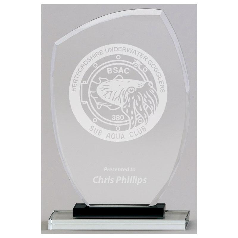 9 Inch Black & Clear Base Euphoria Jade Glass Award