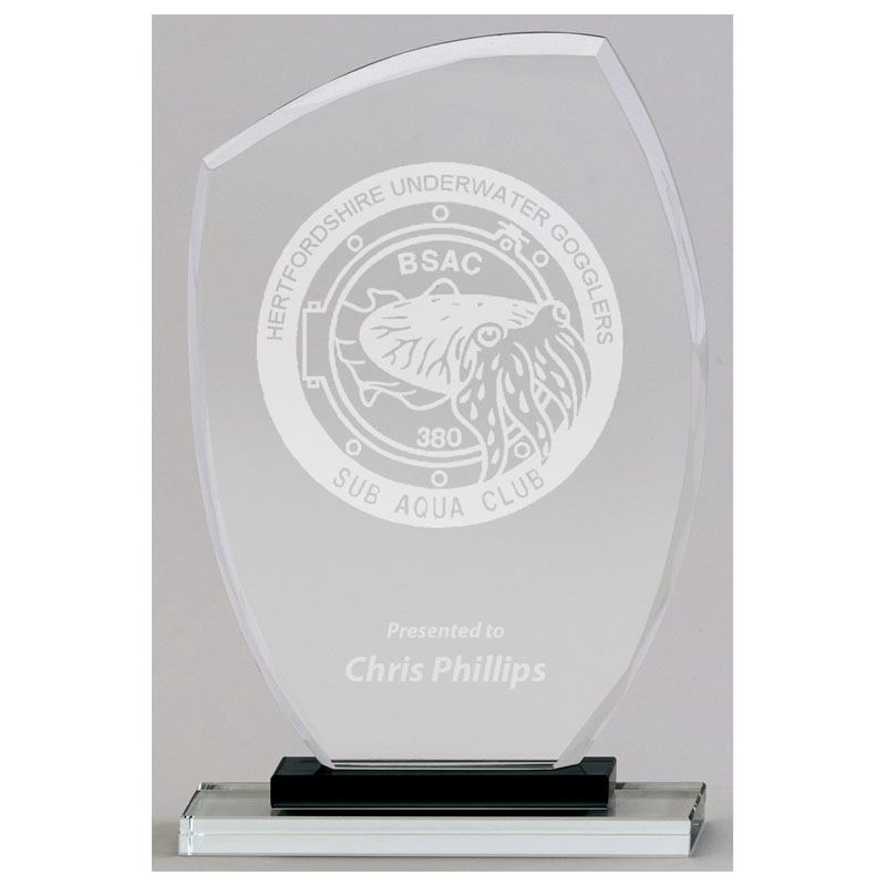 10 Inch Black & Clear Base Euphoria Jade Glass Award