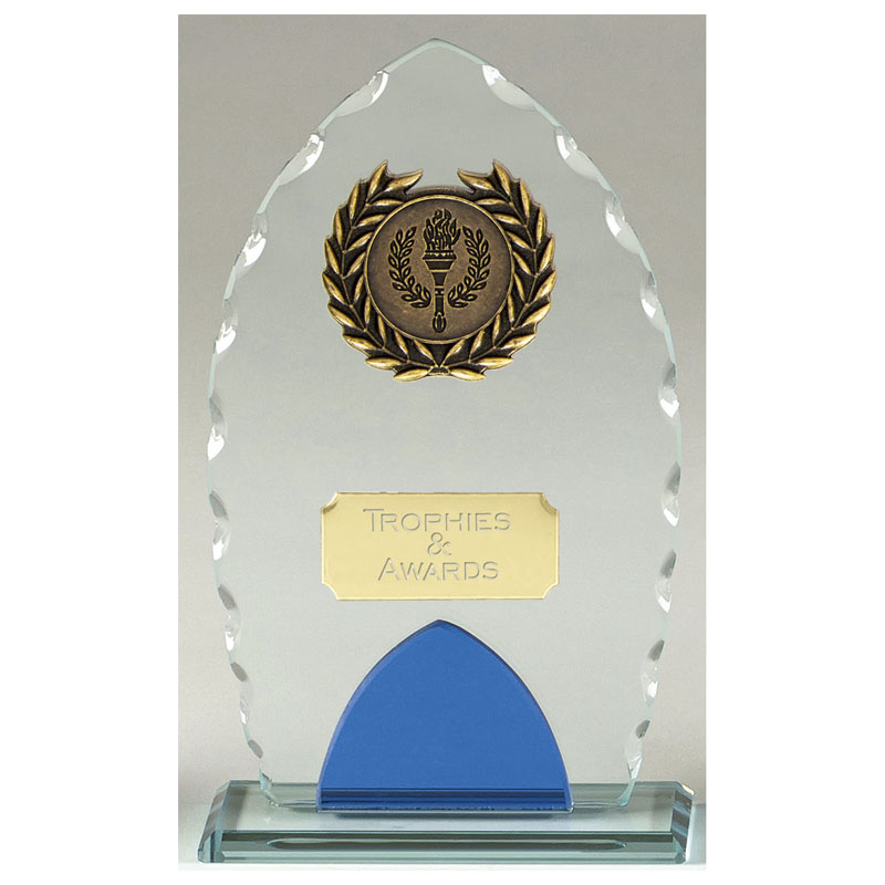 8 Inch Blue & Clear Gadroon Edge Noble Glass Award