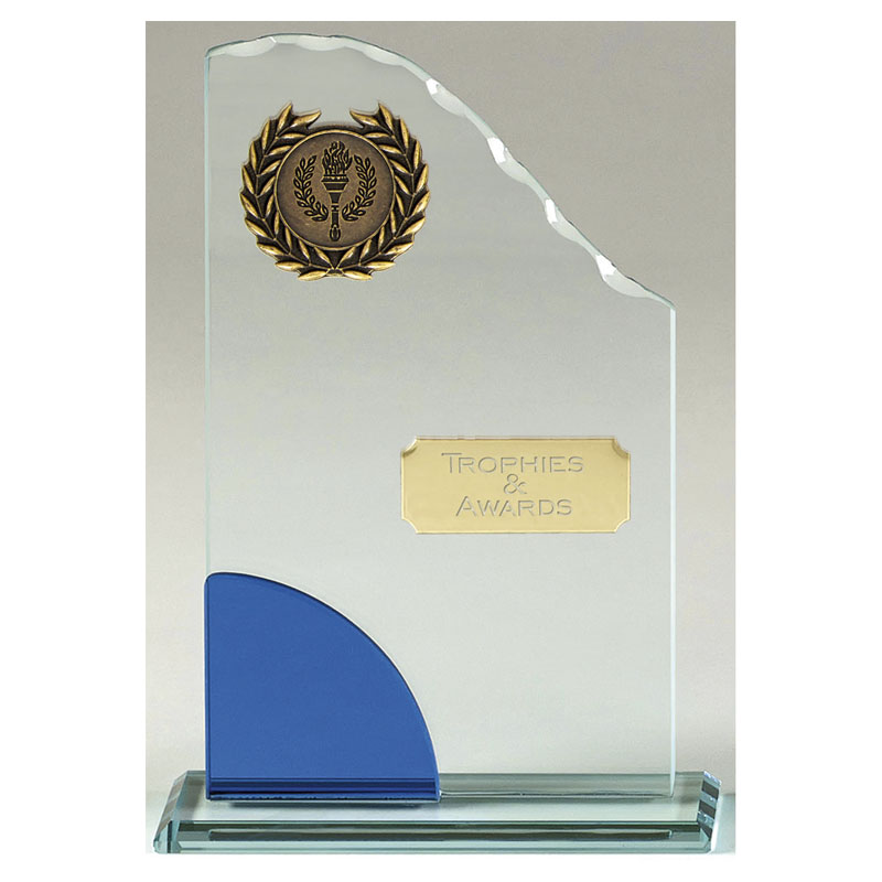 8 Inch Blue & Clear Curved Top Prima Glass Award