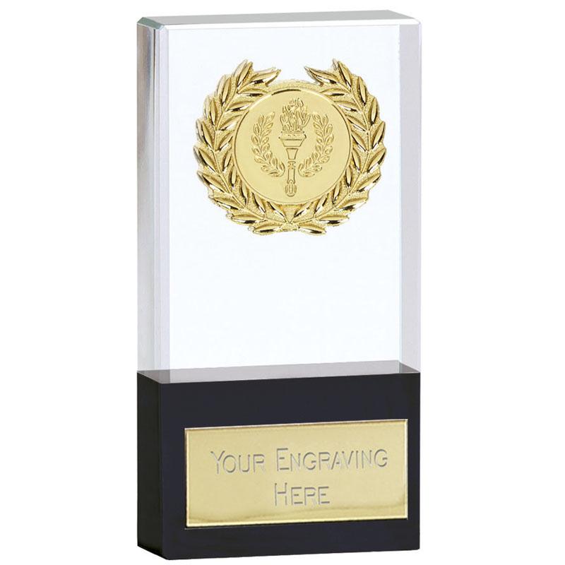 5 Inch Clear & Black Uniform Crystal Award