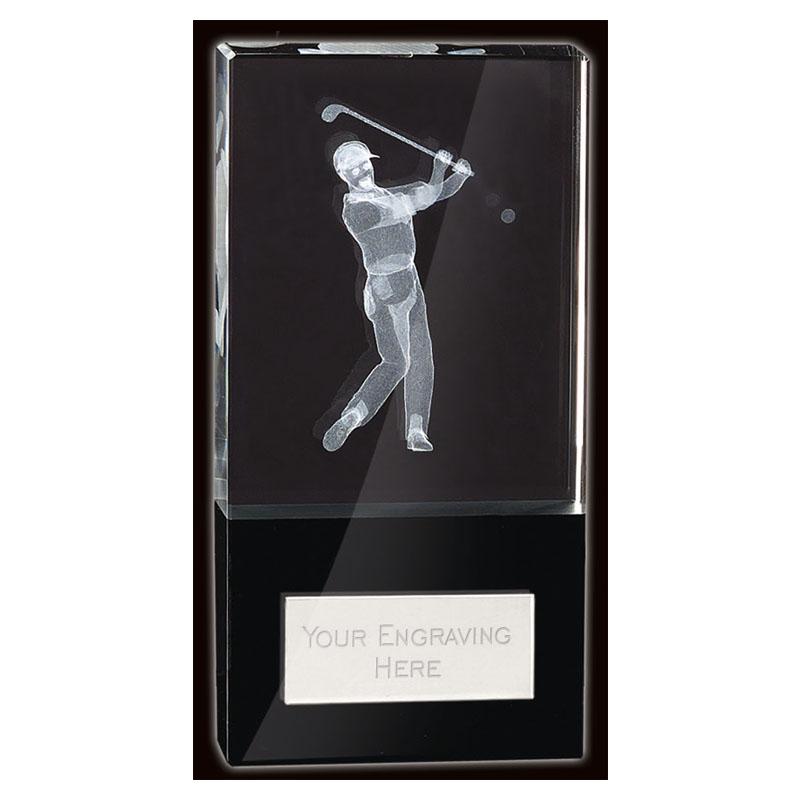 4 Inch Lasered Golfer Golf London Crystal Award