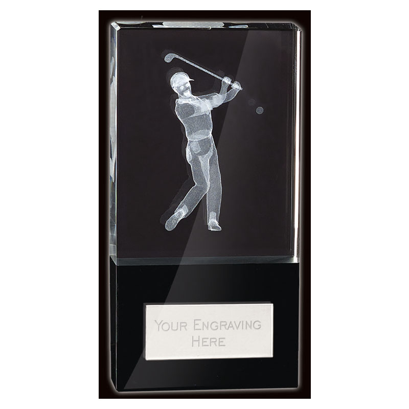 5 Inch Lasered Golfer Golf London Crystal Award