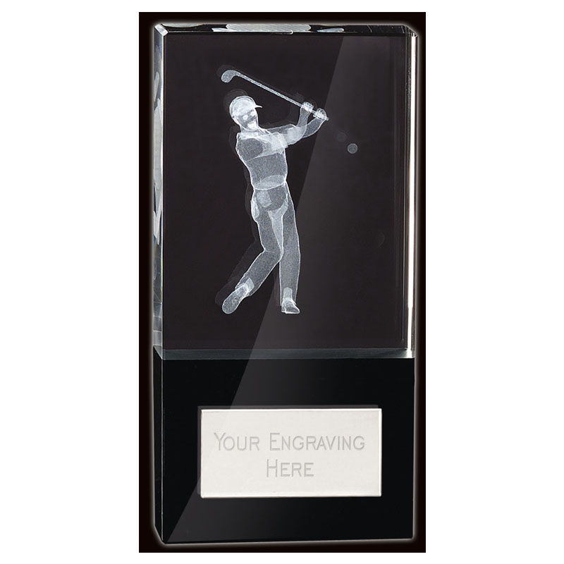 6 Inch Lasered Golfer Golf London Crystal Award