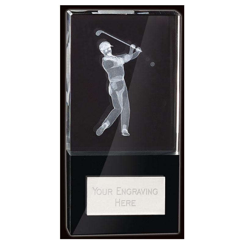 6 Inch Lasered Golfer Golf London Crystal Award