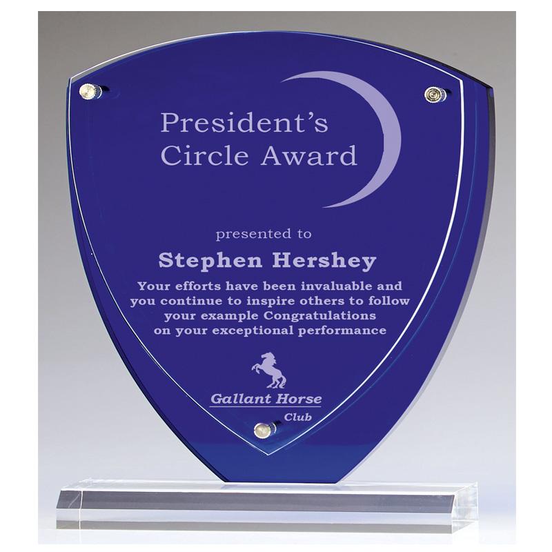 8 Inch Blue Shield Austin Acrylic Award