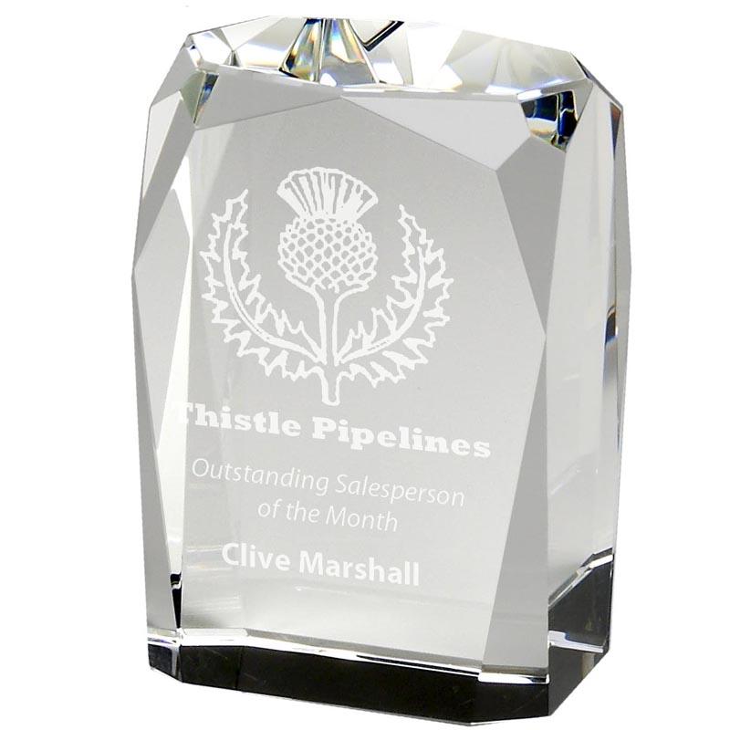 6 Inch Block Glacier Optical Crystal Award