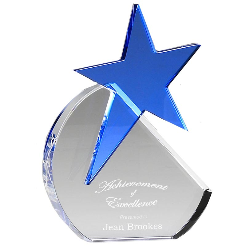 8 Inch Aquamarine Star Optical Crystal Award