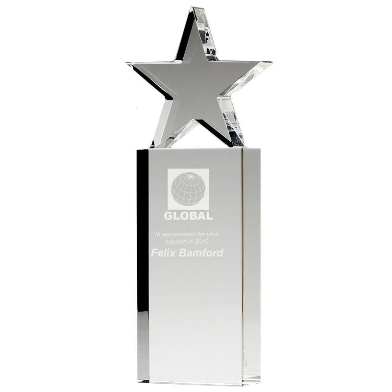 10 Inch Tower Star Optical Crystal Award