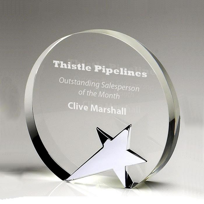 5 Inch Jade Glass Circlet Star Award
