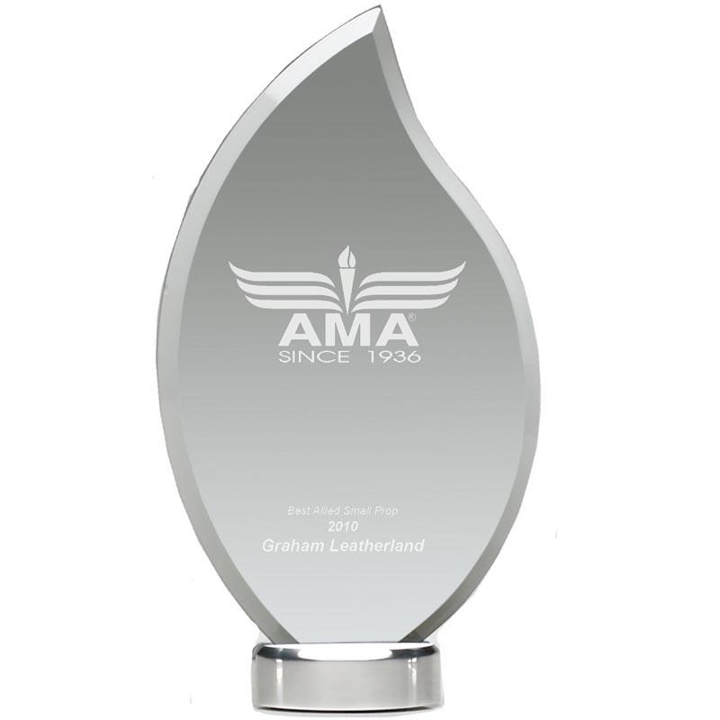 9 Inch Jade Glass Ice Flame Award