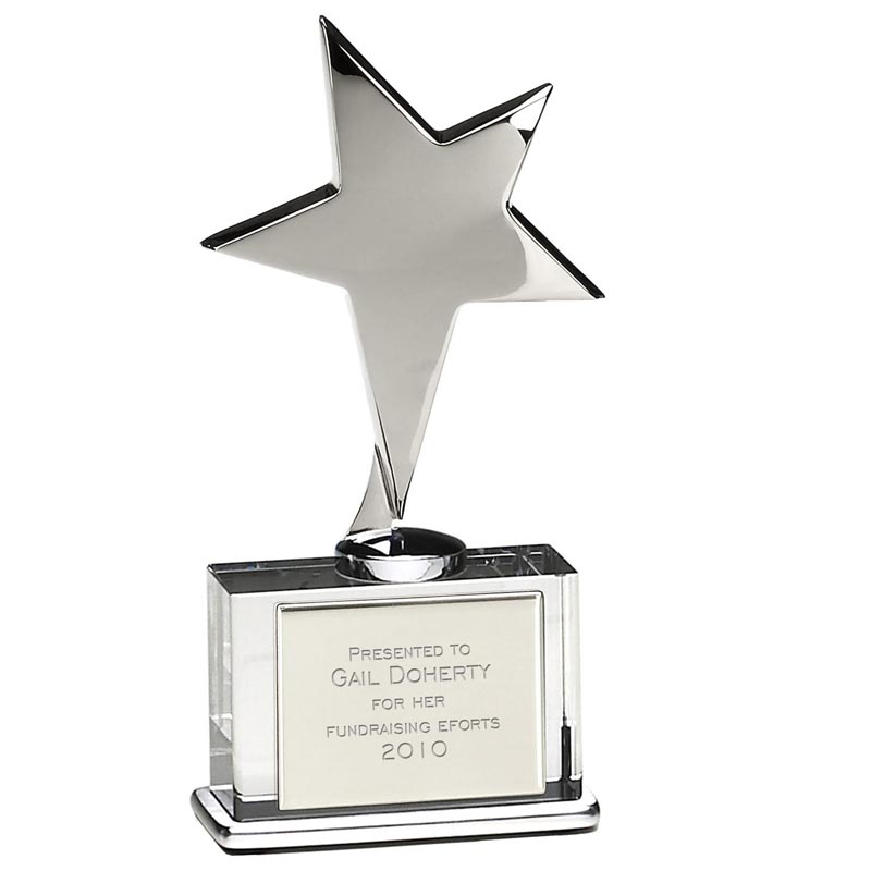 6 Inch Silver Shooting Star Style Award