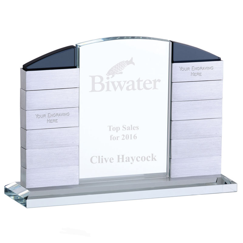 7 x 10 Inch Twelve Entry Arch Crystal Plaque